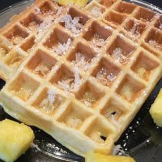 Hawaiian Waffles with Pineapple and Coconut.
