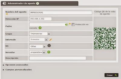 Añadir agente (servidor, servicio, sistema, equipo, dispositivo) en Pandora FMS