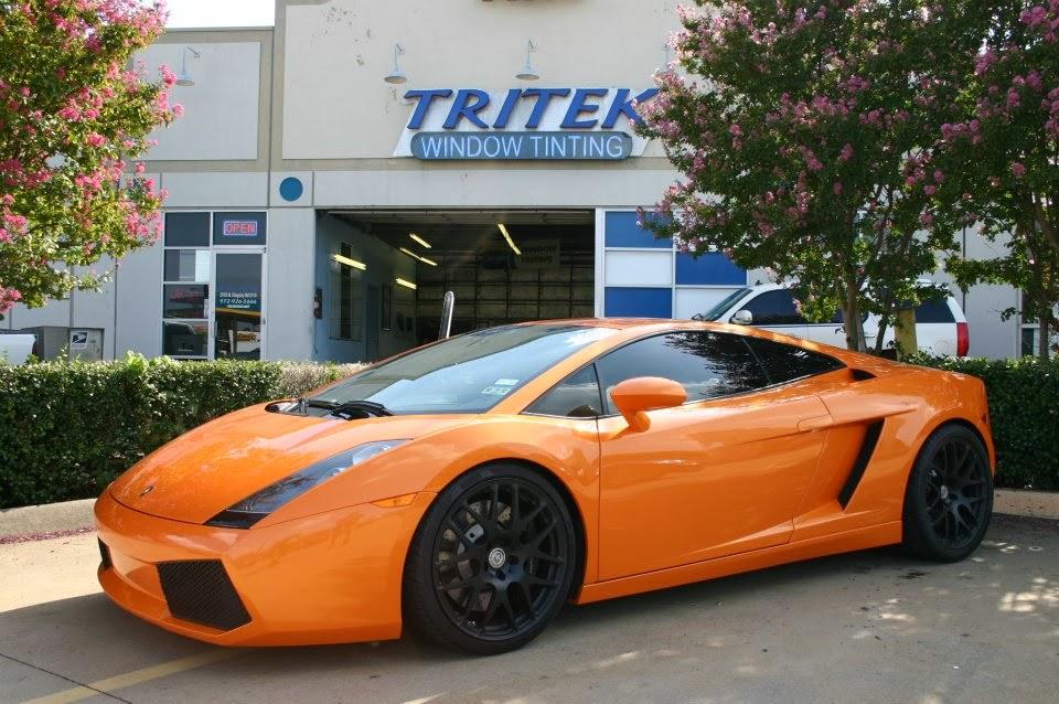 Photo: Orange Lamborghini Gallardo for one of our Dallas Texas Customers, getting a premium window tint installation using our Madico Wincos film.