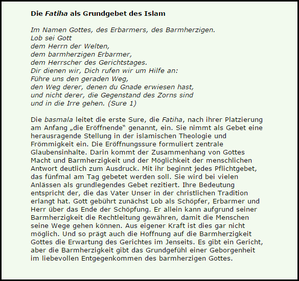 Fatiha im Isalm Barmherzigkeit