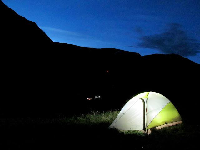 Tent aglow in American Basin