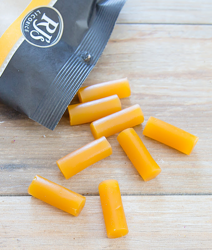 close-up photo of RJ's Mango flavored licorice