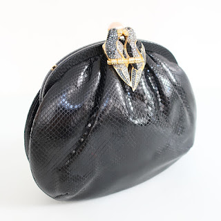 Judith Lieber Snakeskin Kissing Parrots Evening Bag