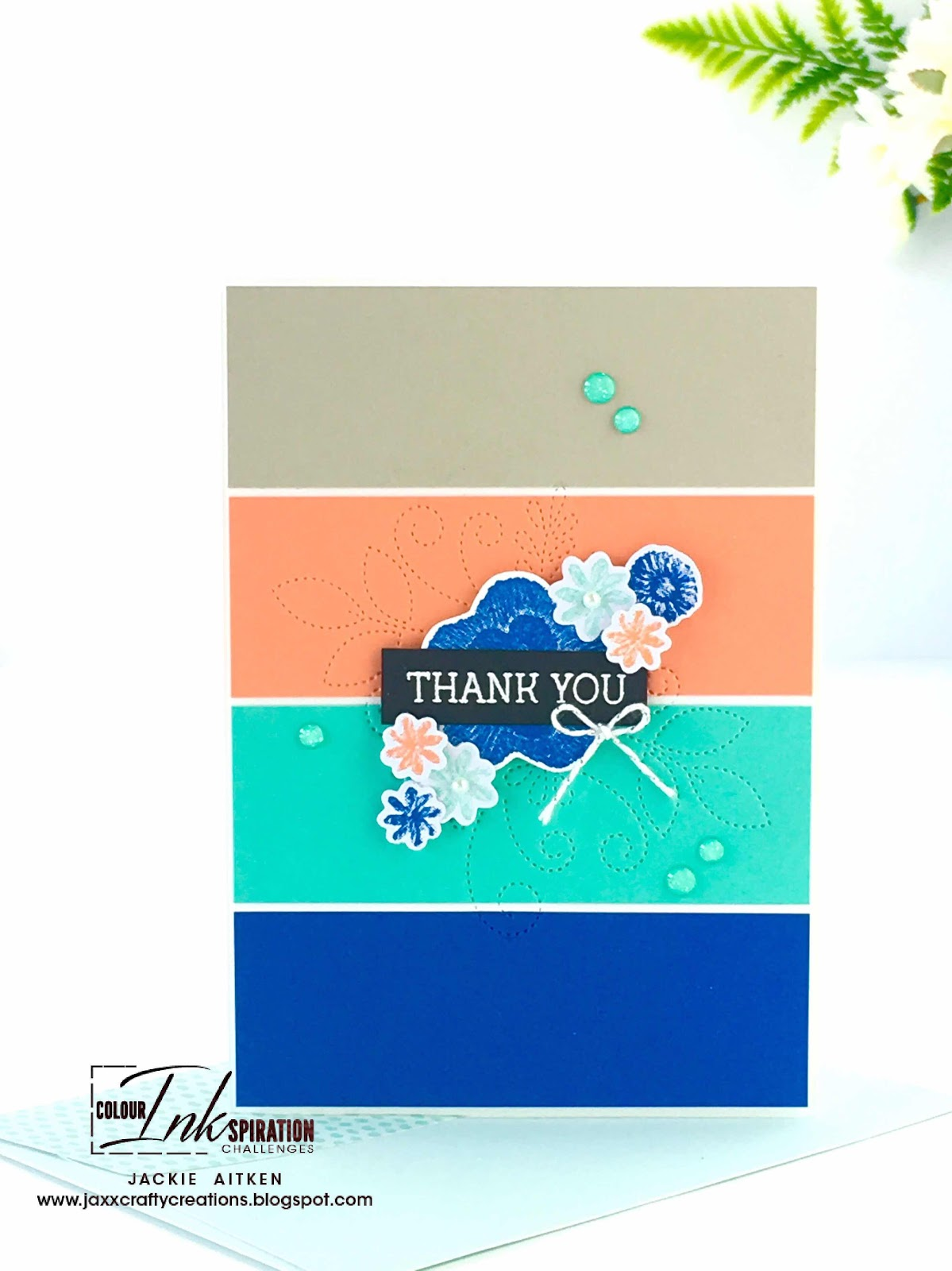 Artisan Design Team 2019, Colour INKspiration Blog Challenge, Needle & Thread Stamp Set, Stampin' Up!, Jaxx Crafty Creations, Colour Challenge, CAS cards, Thank You Card,