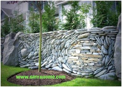 Pagar rumah minimalis Batu Alam Unik