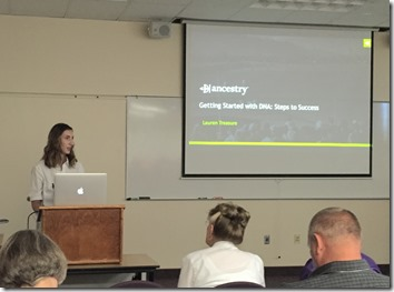 Lauren Treasure, product manager for AncestryDNA at BYU Conference