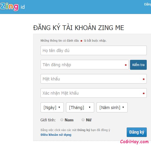 trang đăng ký zing me