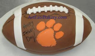 Custom unique fondant 3D Clemson University tiger paw football Fathers day cake idea picture