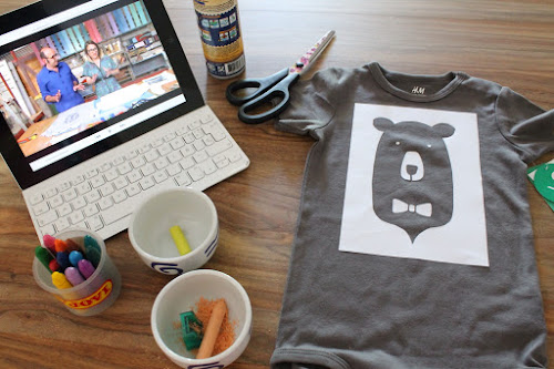 Not 2 late to craft: Samarreta estampada amb plastidecors / DIY printed T-shirt with crayons