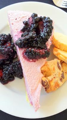 Boysenberry cassata, yuzu butter chiffon cake, soft cream, boysenberry sauce at the Lifewise Oregon Berry Festival Gala Berry Dinner 2015