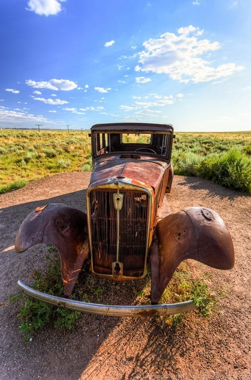 Old car on Route 66 Painted desert Arizona