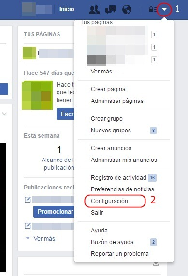 Copia de seguridad de Facebook - Configuración