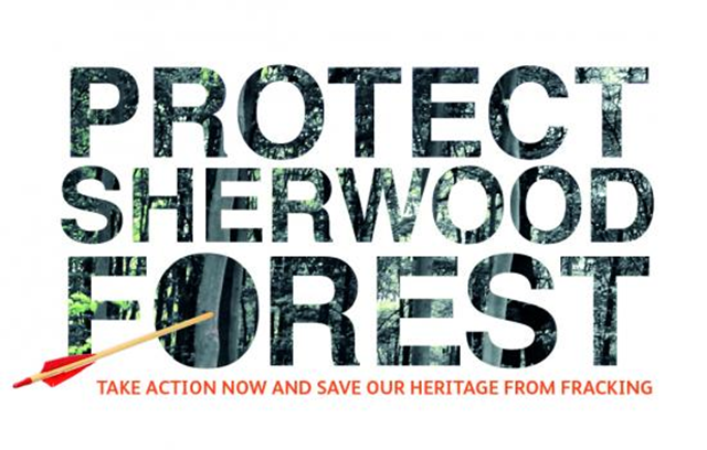 Logo for the 'Protect Sherhood Forest' project, to save Sherwood Forest from fracking. Graphic: Friends of the Earth