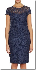 Gina Bacconi layered lace cap sleeved dress