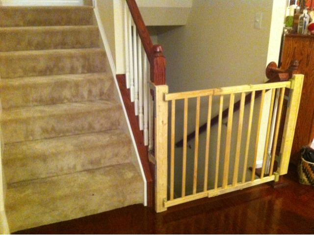 Another banister installed baby gate.