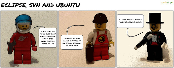 Eclipse, SVN and Ubuntu - Javahl, all playing nicely - a lego minifigure comic strip made with Comic Strip It!