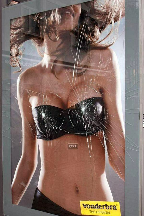 Wonderbra's broken bus stop advertisement was quite a headturner!