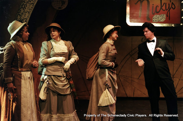 Christine Boice Saplin, Rita Russell, Eileen McCashion an Colin McCarty in ON THE VERGE - January/February 2000.  Property of The Schenectady Civic Players Theater Archive.