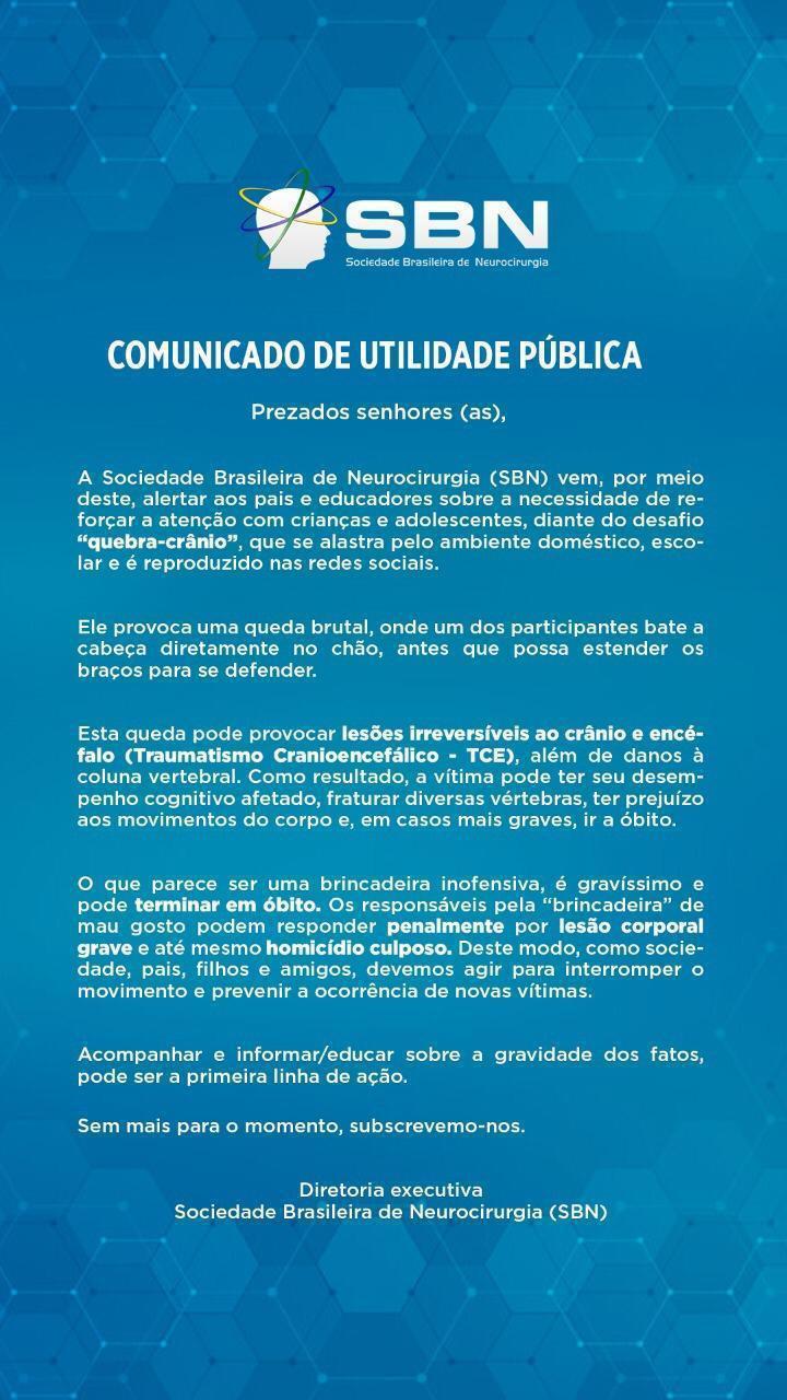 """Comunicado de Utilidade Pública sobre """"Quebra-Crânio""""."""