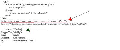 Tambah meta tag pada template
