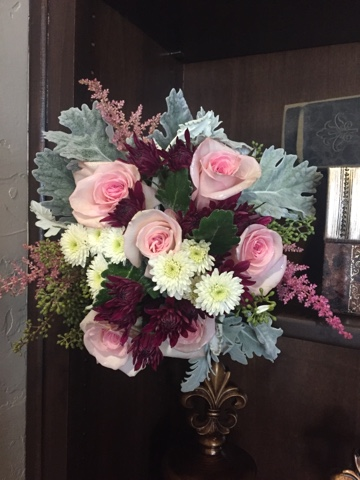pink, purple and white bridesmaid bouquets