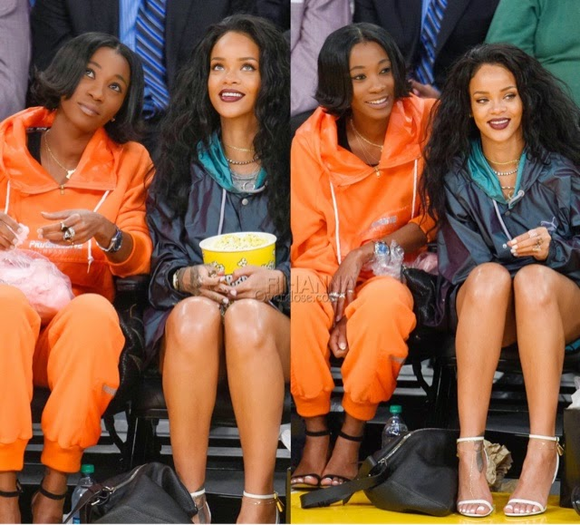 Rihanna in PUMA at the Lakers game