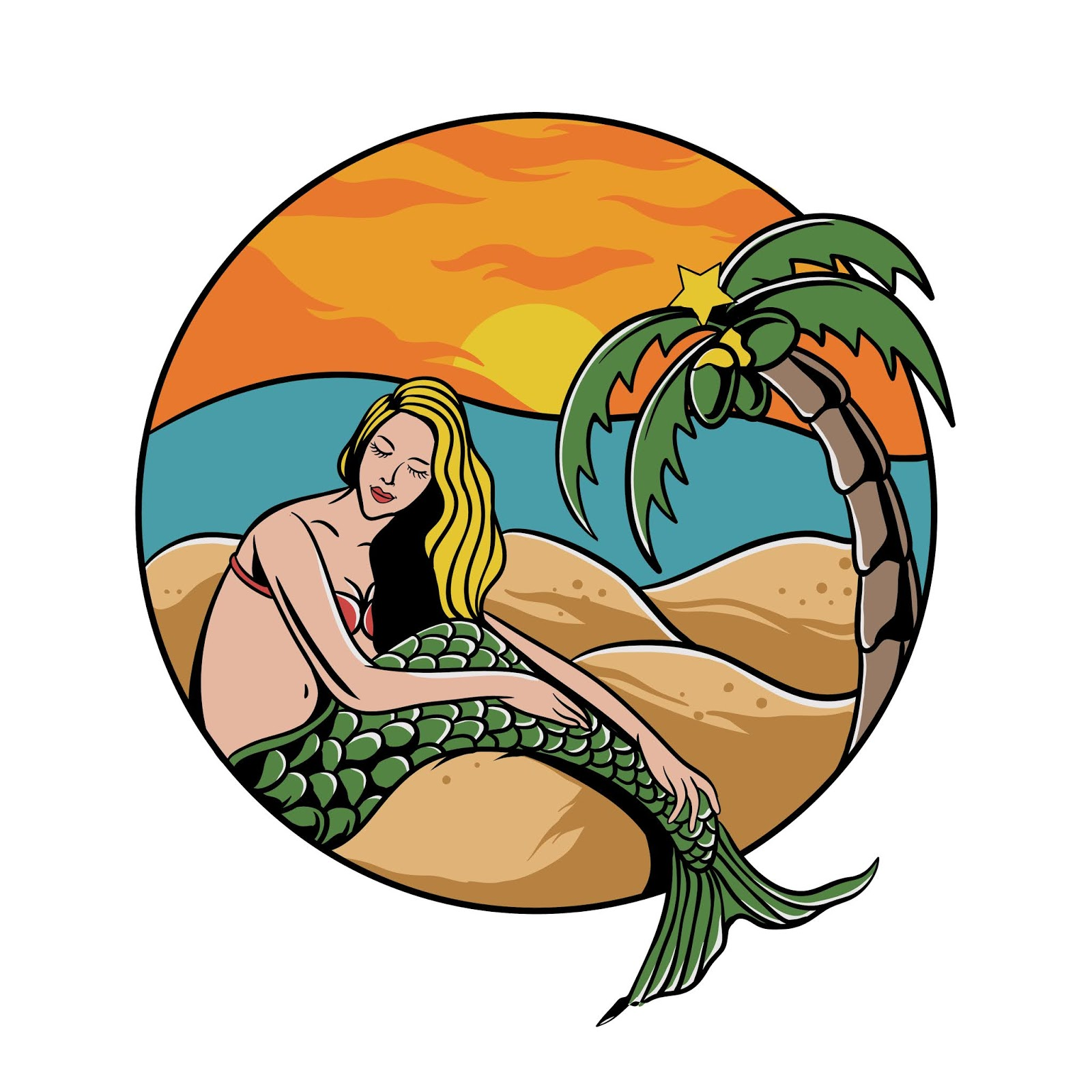 Mermaid Girl Beach With Palm Tree Sunset Free Download Vector CDR, AI, EPS and PNG Formats