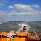 Volunteer crew member Chris Speers oversees the tow to the motor cruiser from the ALB - 26 July 2014.  Photo credit: Paul Taylor