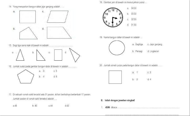 Contoh Soal UAS Matematika Kelas 5 Semester 1 SD dan MI