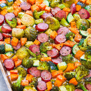 Sheet Pan Turkey Sausage and Vegetables.