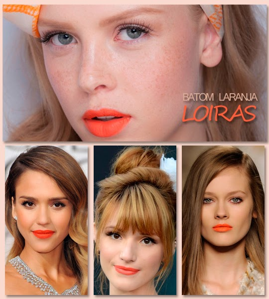 Batom laranja para loiras