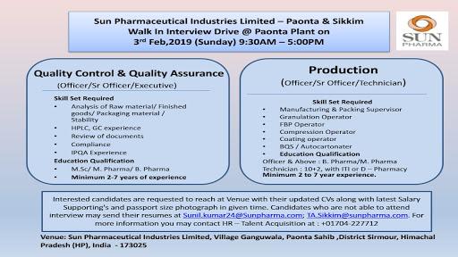 Walk in for Sun Pharma at Paonta sahib on 3rd Feb 2019 | PHARMA JOBS