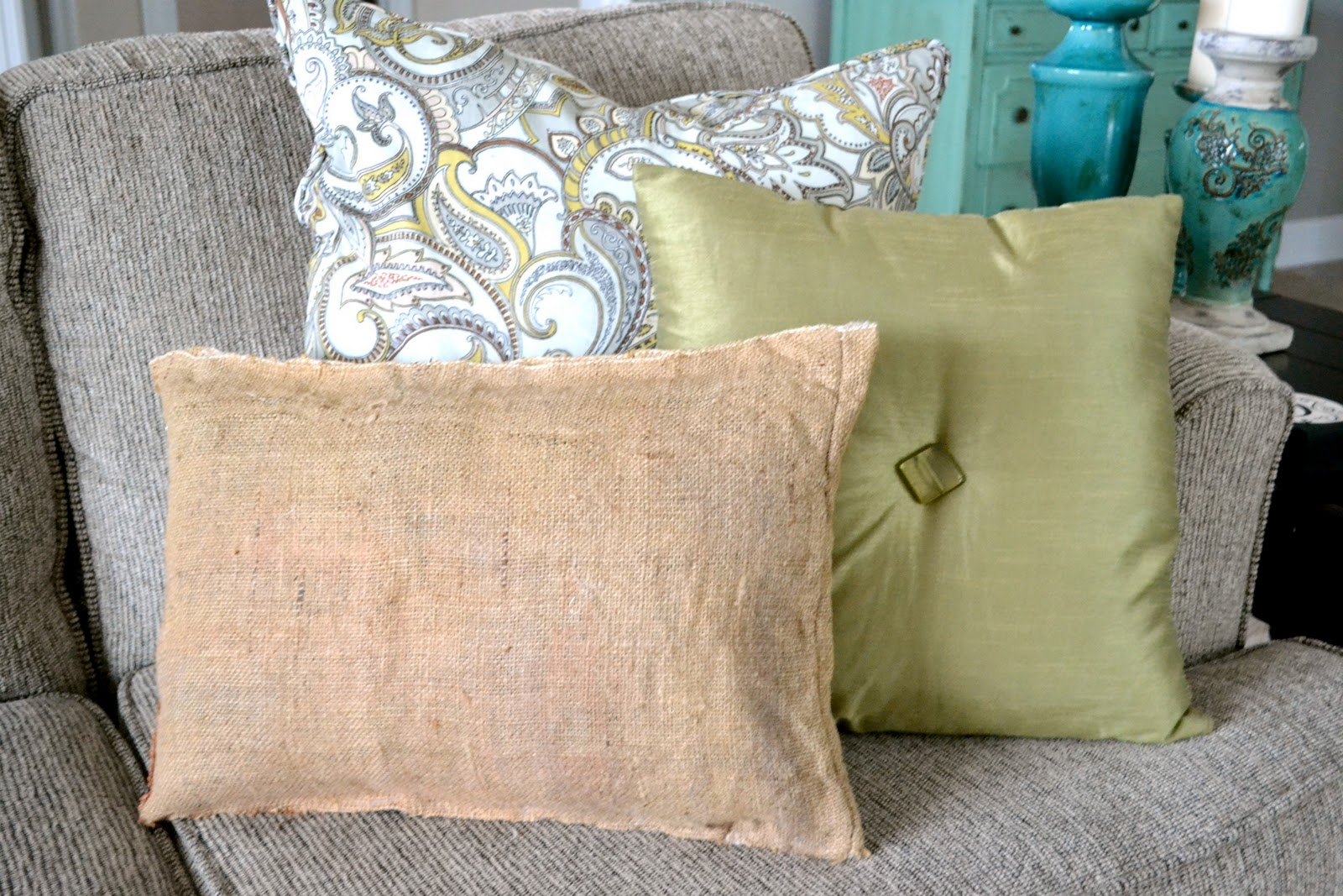 Eclectic Mix Of Pillows : Liz Marie: Burlap Pillow...