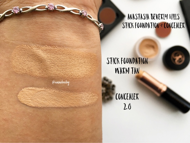 abh stick foundation warm tan swatch nc40 medium indian asian skin, abh concealer 2.0 swatch