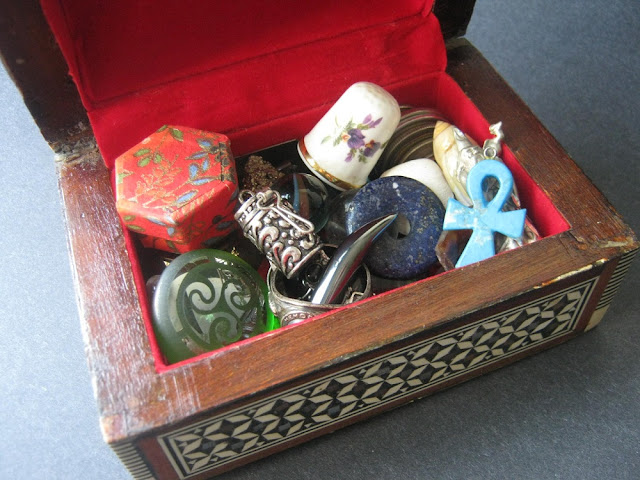 Treasures: Korean Coins, Sea Glass, Marbles, Gemstones, Shells, Pewter Figurines, Broken Pendants