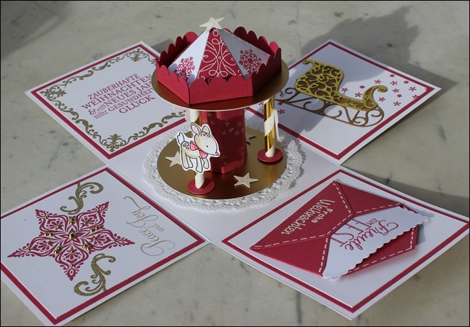 Explosion Box Weihnachten Christmas Gold Glitzer Karussell Stampin Up Zum Nachwuchs Weihnachtsschlitten 03