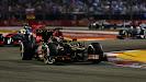 Kimi Raikkonen, Lotus E21 Renault leads Sergio Perez, McLaren MP4-28 Mercedes