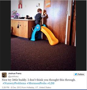 little boy blocking door