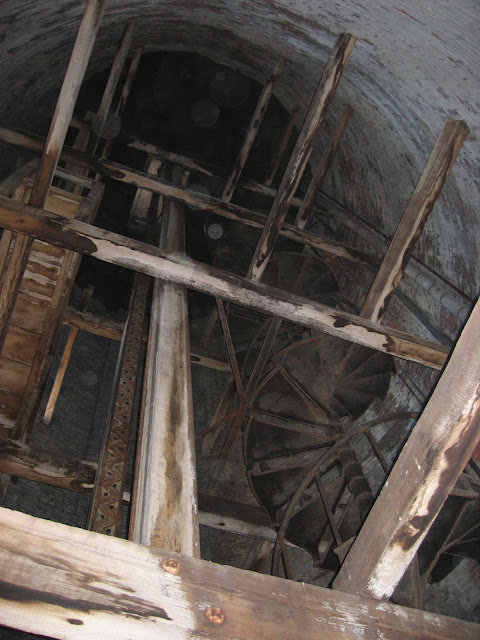 Looking up at the top 70' of tower