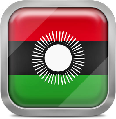 Malawi square flag with metallic frame