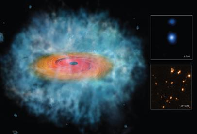 ilustração do colapso de uma nuvem de gás produzindo um buraco negro