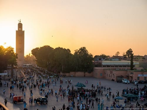 Jamaa el Fna Square Marrakech from above sunset