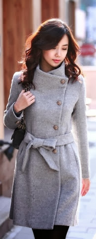 Stylish grey long trench coat for fall