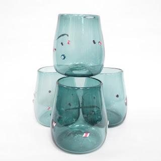 Signed Art Glass Vintage Cup Set