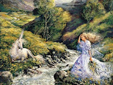 Unicorn And Princess On The Riverside