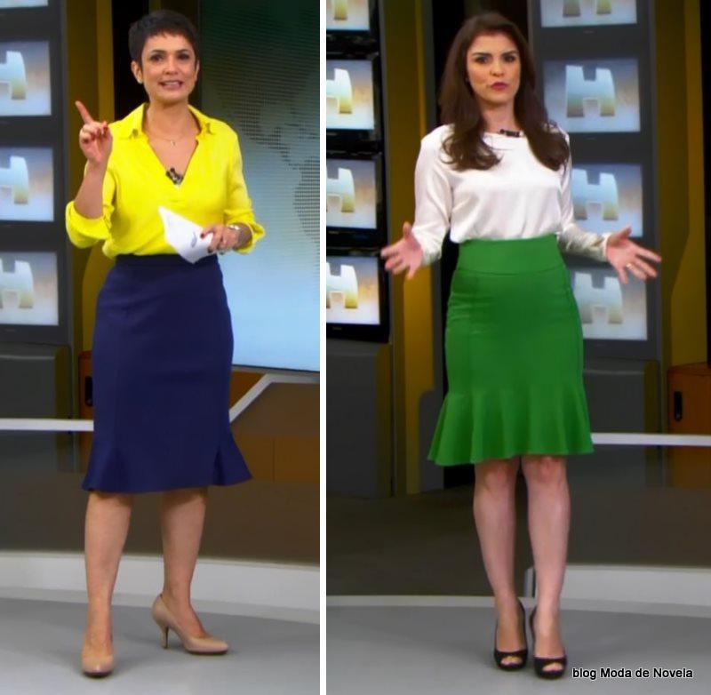 moda do programa Jornal Hoje - looks de Sandra Annenber e Eliana Marques dia 4 de julho