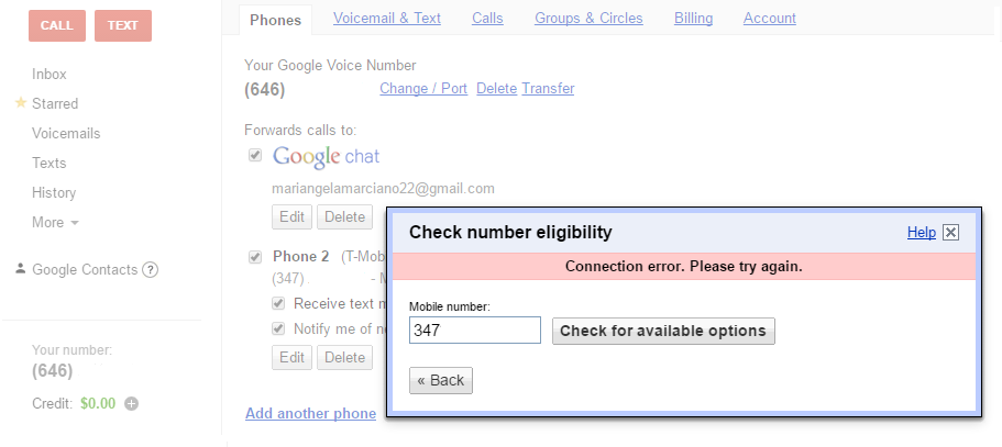 Error in porting my T-mobile number - Google Voice Help