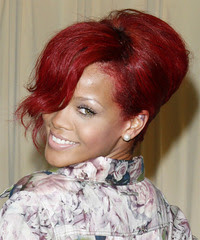 Rihanna+%2819%29 Rihanna red Formal Updo Long Hair Curly bun hairstyles
