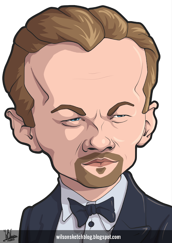 Cartoon caricature of Leonardo DiCaprio.