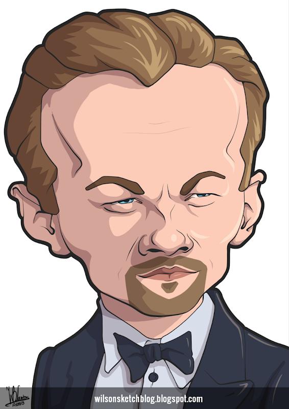 Cartoon caricature of Leonardo DiCaprio.